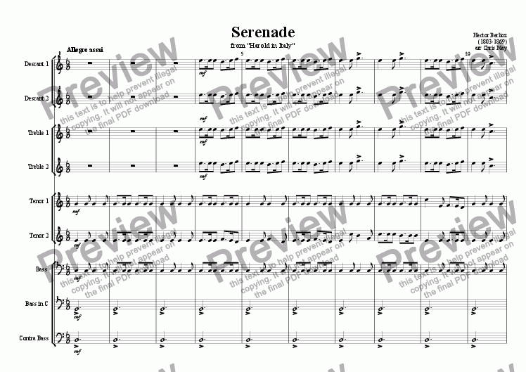page one of Serenade from Harold in Italy, arranged for recorder orchestra