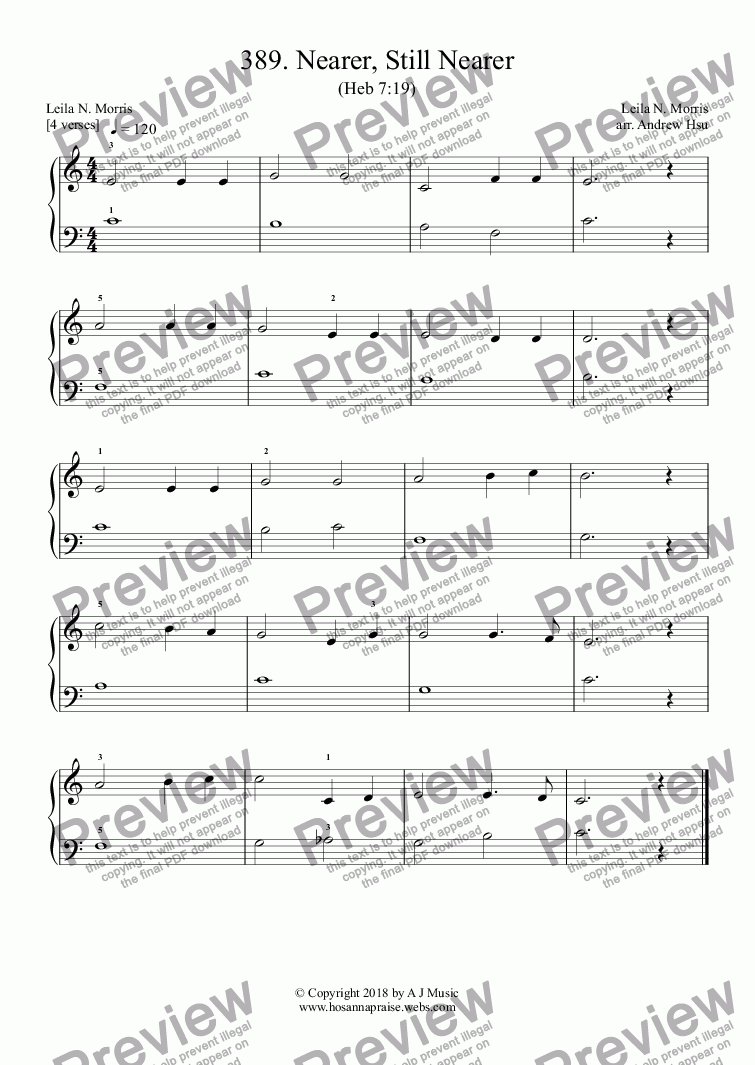 page one of Nearer, Still Nearer - Really Easy Piano 389