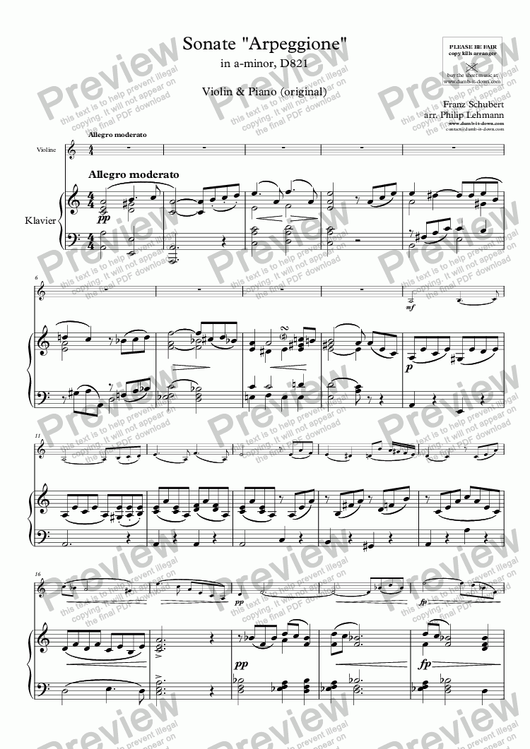 "page one of Schubert, F. - Sonate ""Arpeggione"" in a-minor, D821 - for Violin & Piano (orig.)"