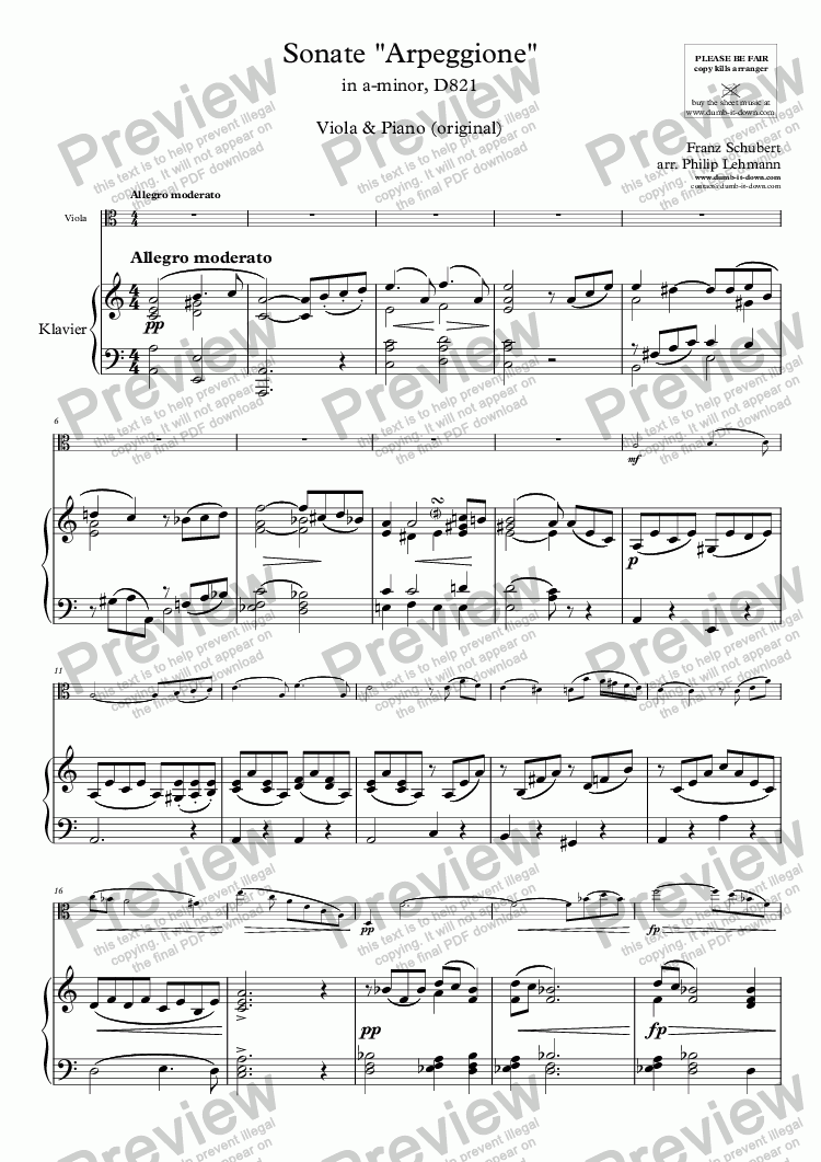 "page one of Schubert, F. - Sonate ""Arpeggione"" in a-minor, D821 - for Viola & Piano (orig.)"