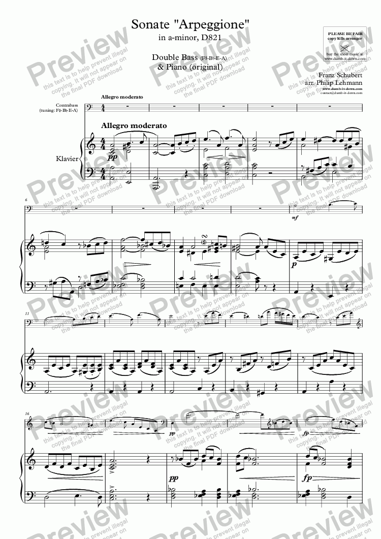 "page one of Schubert, F. - Sonate ""Arpeggione"" in a-minor, D821 - for Double Bass & Piano (orig.) - versions in g (E-A-D-G) & a (F#-B-E-A)"