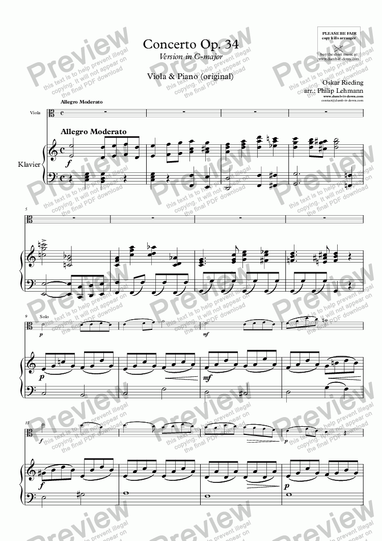 page one of Rieding, O. - Op.34, Concerto - for Viola & Piano (orig.)