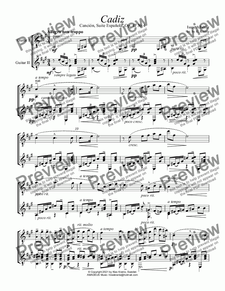 page one of Cadiz Op. 47 for violin and guitar