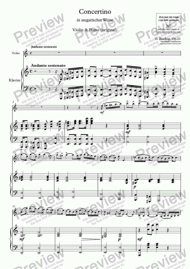 "page one of Rieding, O. - Op.21, Concertino in a ""Hungarian"" - for Violin & Piano (orig.)"