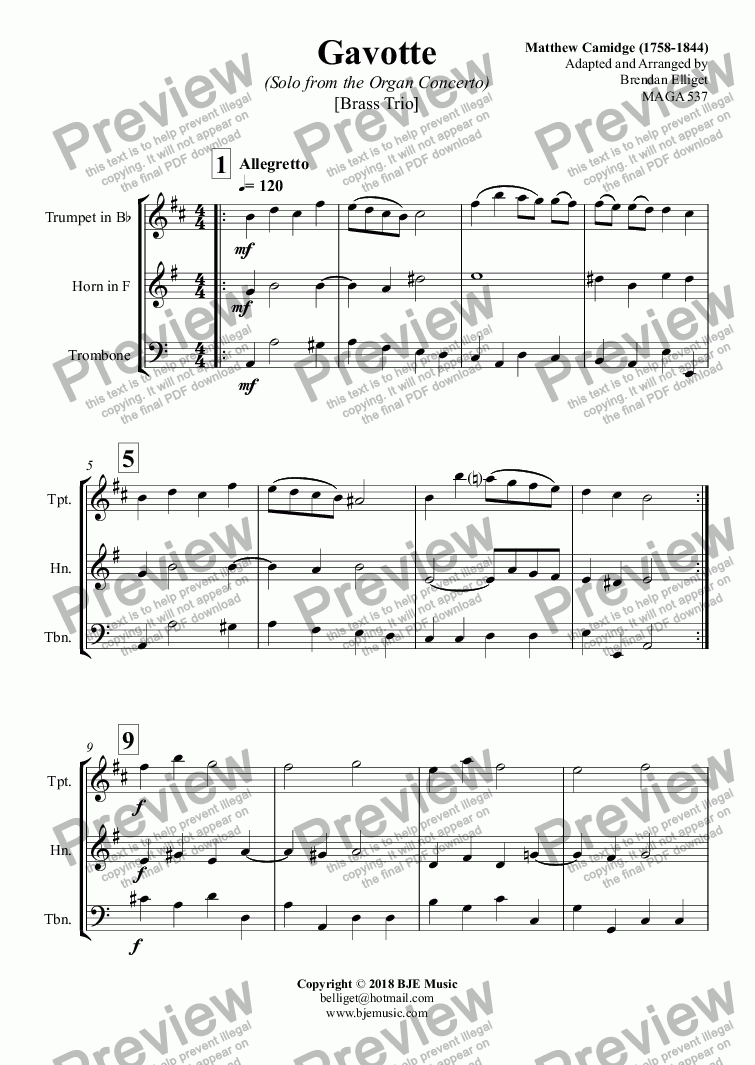 page one of Gavotte (Solo from the Organ Concerto) - Brass Trio