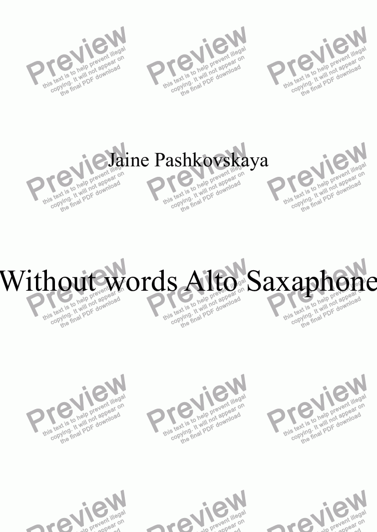 page one of Without words Alto Saxaphone