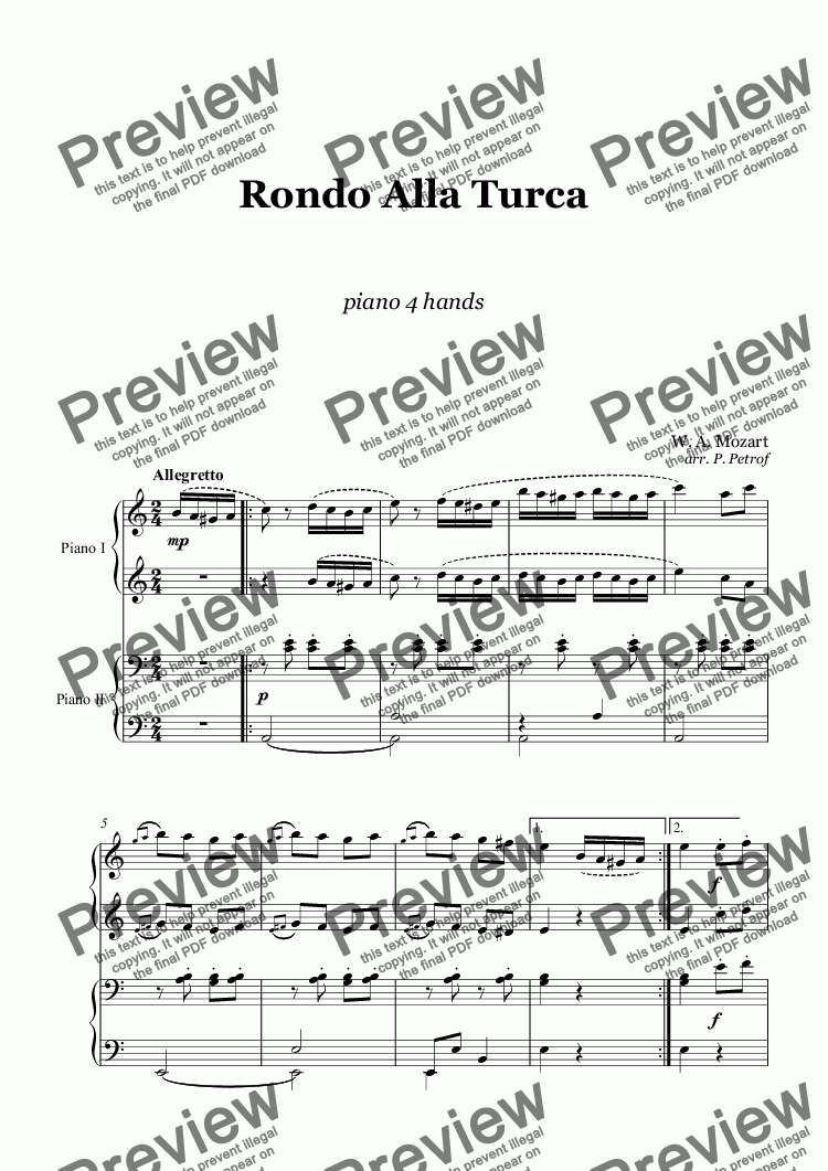 page one of W. A. Mozart - Rondo Alla Turca - piano 4 hands