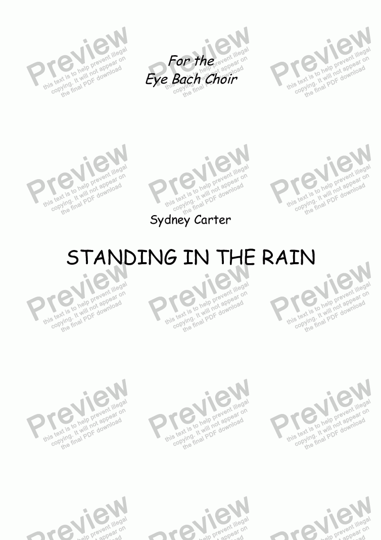 page one of Standing In The Rain