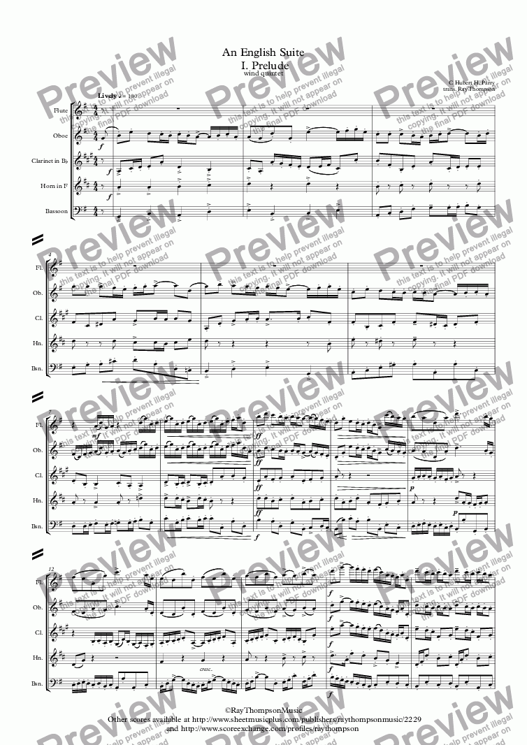 page one of Parry: An English Suite  I. Prelude - wind quintet