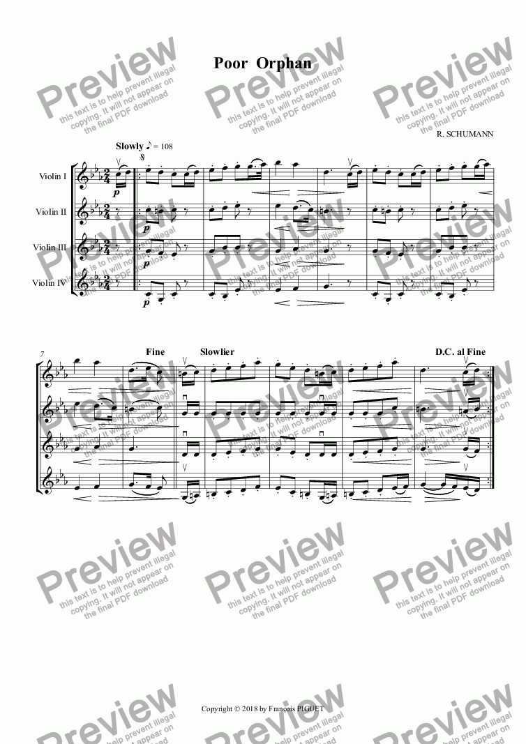 page one of SCHUMANN: Poor  Orphan, arranged for Violins 4tet