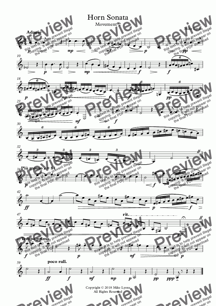page one of Horn Sonata No. 1 - 2nd. Movement - Adagio