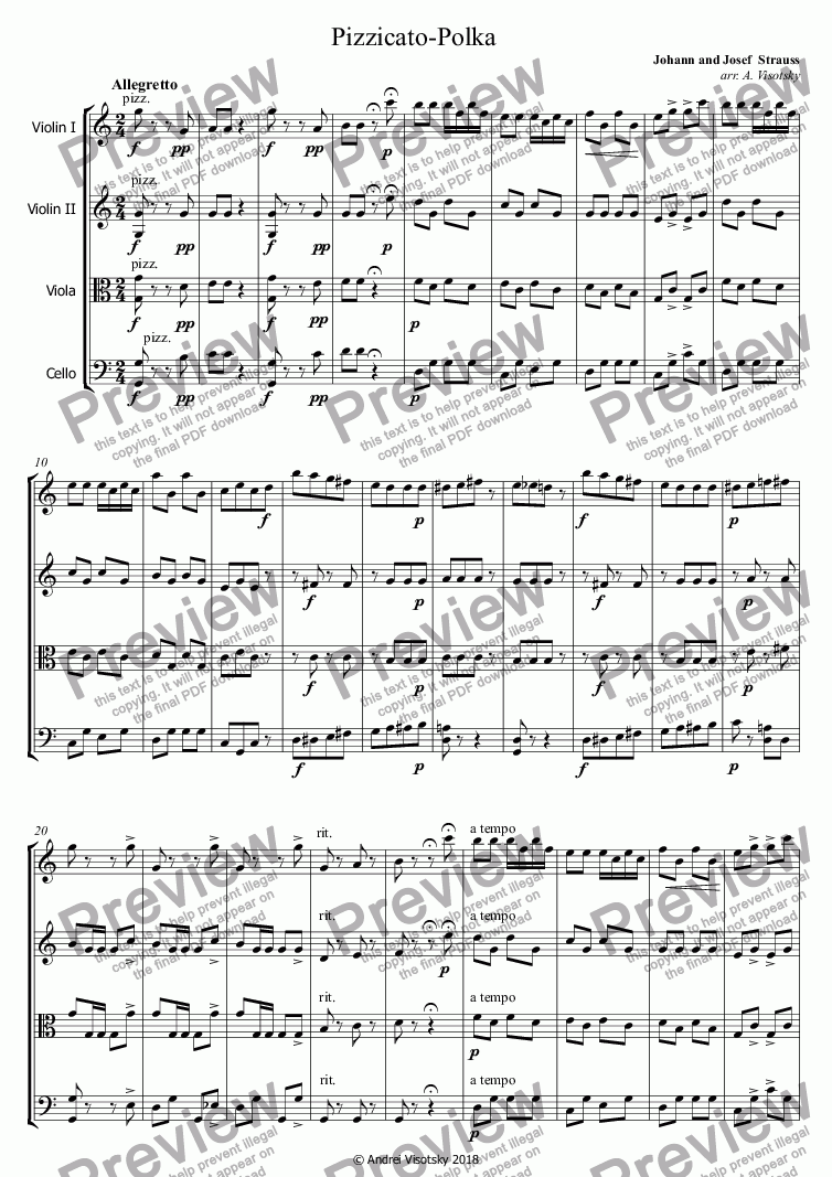 page one of Pizzicato-Polka
