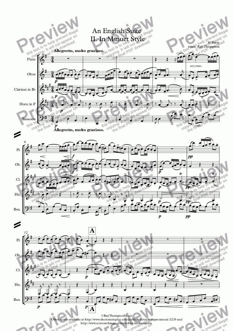 page one of Parry: An English Suite  II. In Minuet Style - wind quintet