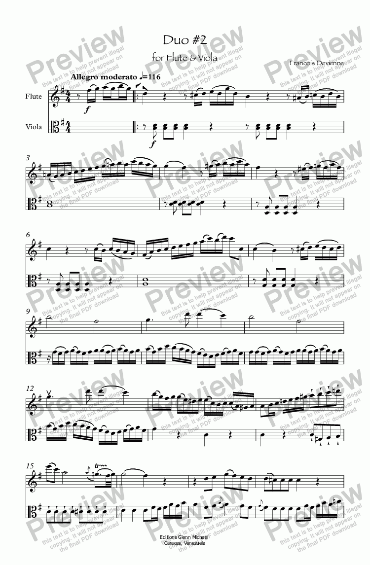 page one of Duo #2 for Flute & Viola