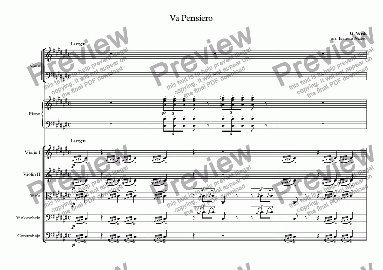 page one of Va Pensiero, for choir, piano and string orchestra