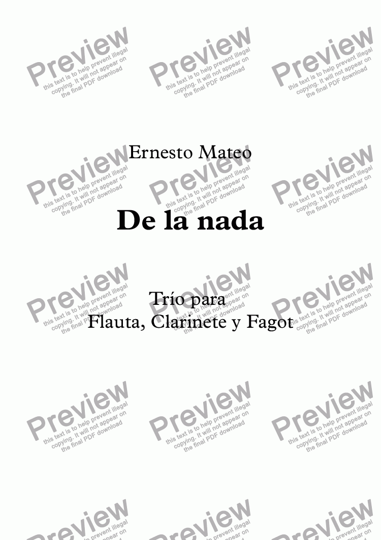 page one of De la nada (Woodwind trio)