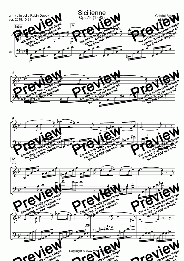 page one of Faure - Sicilienne - PDF - Duo duet 二重唱 violin cello
