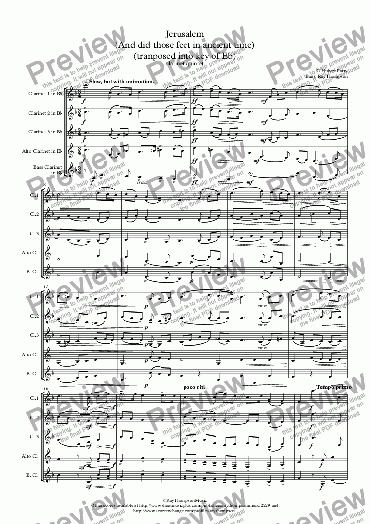 page one of Parry: Jerusalem (And did those feet in ancient time) (tranposed into key of Eb) - clarinet quintet