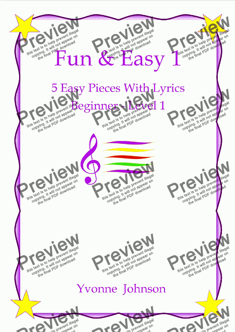 page one of Fun & Easy - 5 Easy Piano Pieces With Lyrics Beginner - Level 1