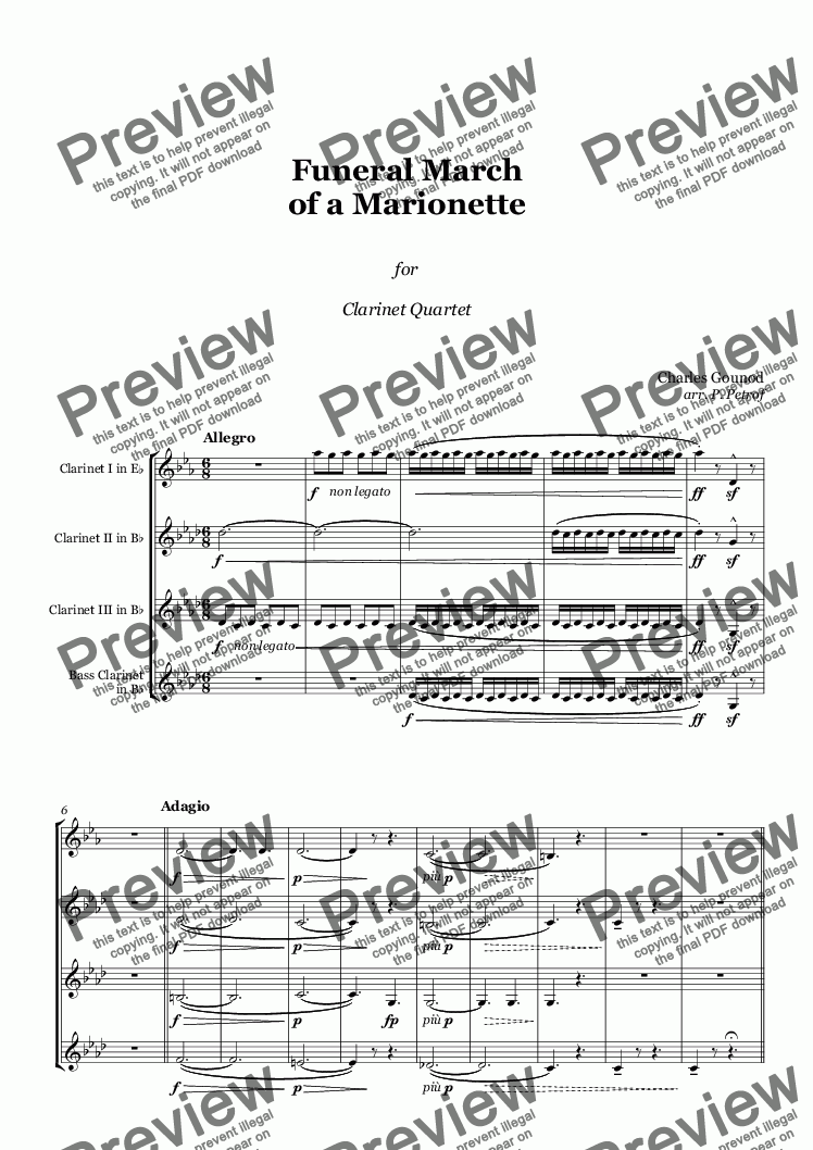 page one of Gounod - Funeral March of a Marionette - Clarinet Quartet