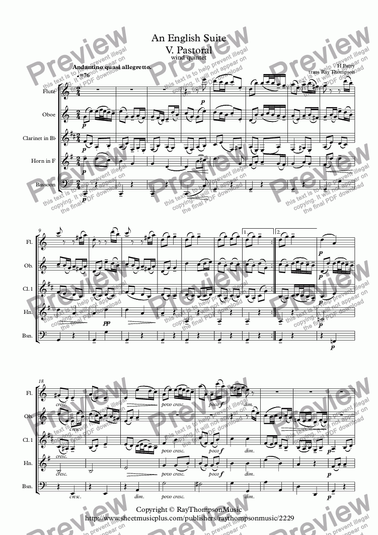 page one of ParrY: An English Suite V. Pastoral - wind quintet