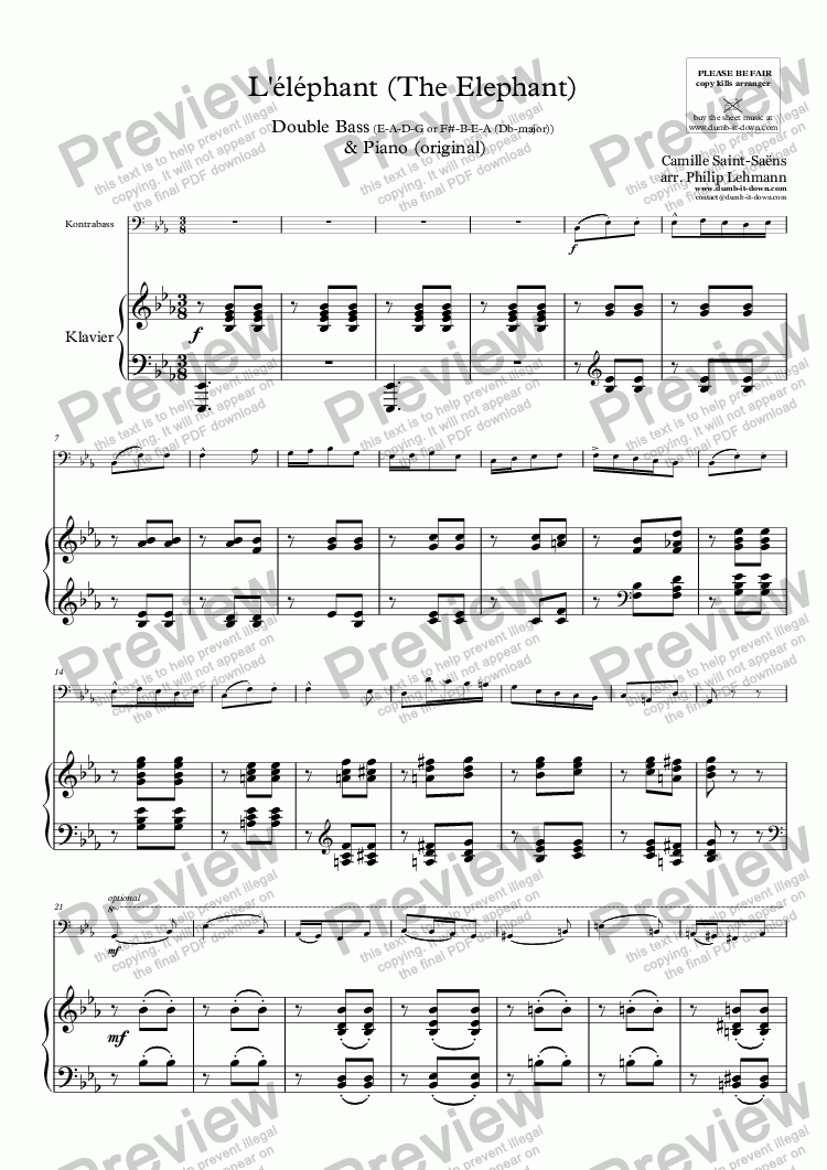 page one of Saint-Saens, C. - L'éléphant (The Elephant) for Double Bass & Piano (orig.) - vers. in Eb (E-A-D-G) & F (F#-B-E-A)ASALTTEXT
