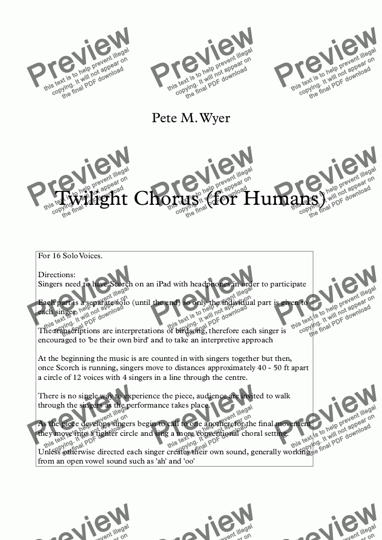 page one of Twilight Chorus (for Humans)