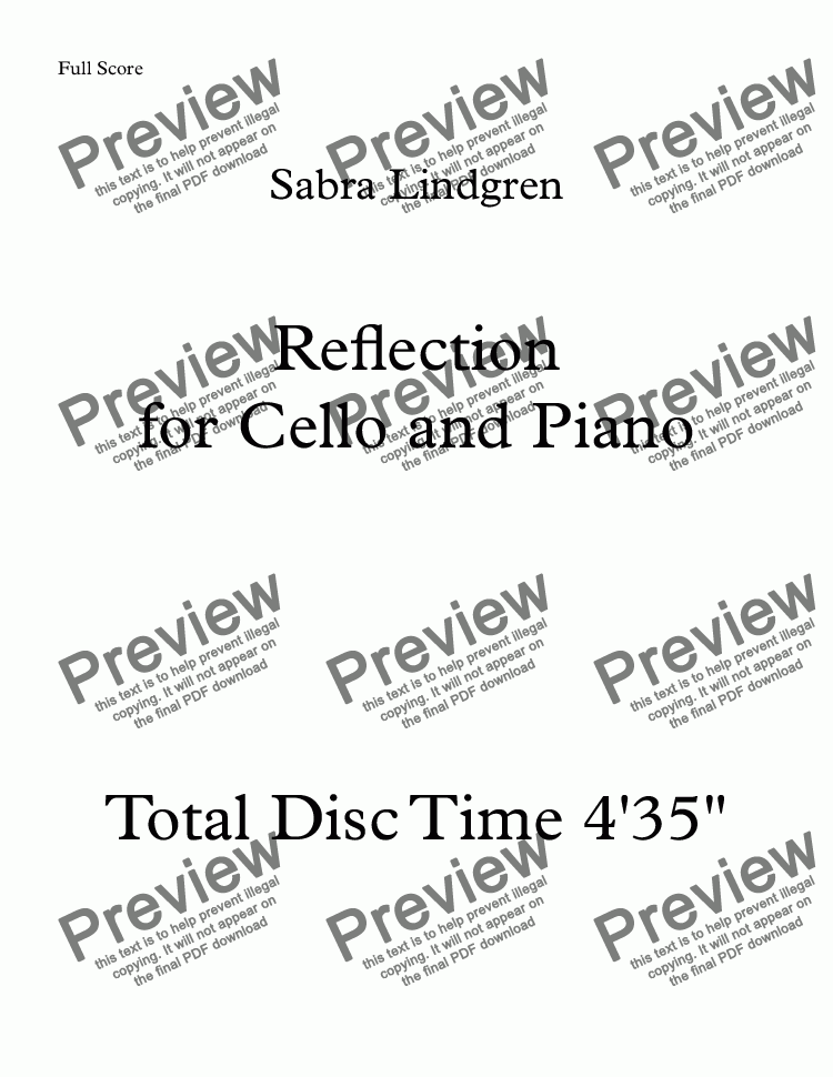 page one of Reflection for Cello and Piano