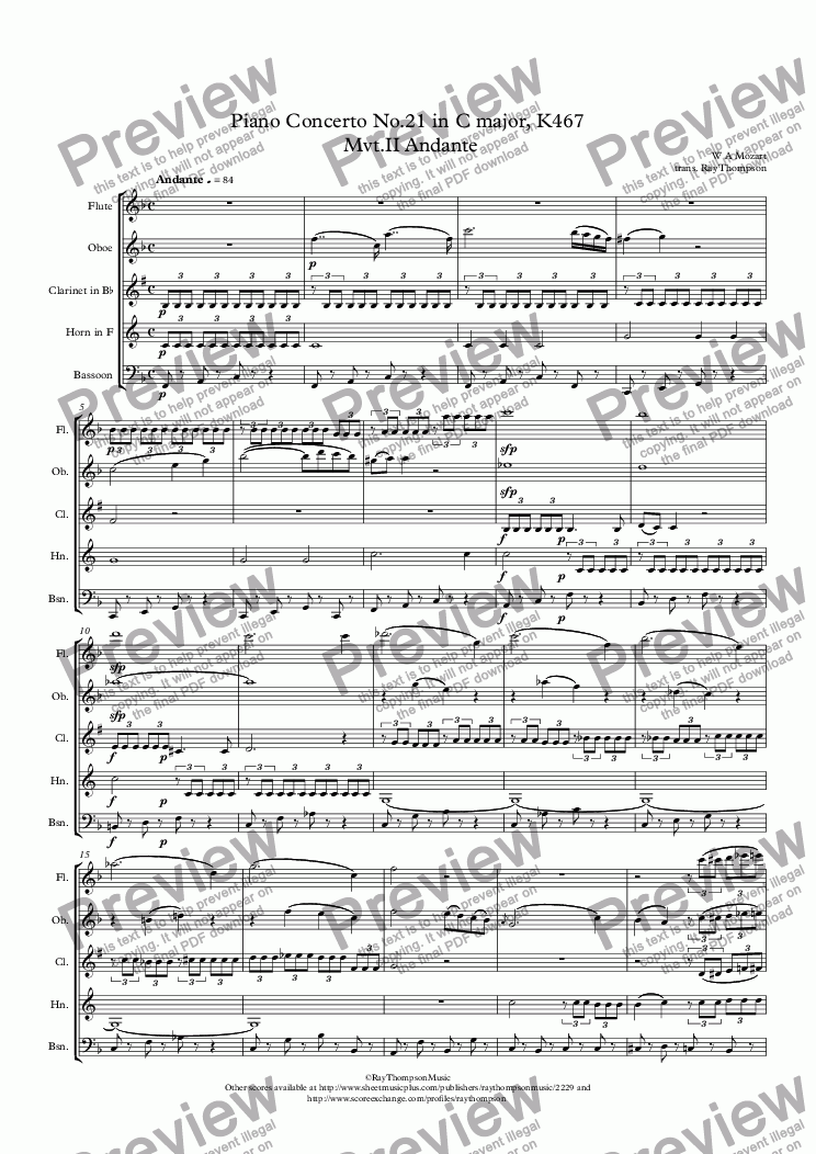 page one of Mozart: Piano Concerto No.21 in C major( k/a The Elvira Madigan concerto) K467 Mvt.II Andante - wind quintet