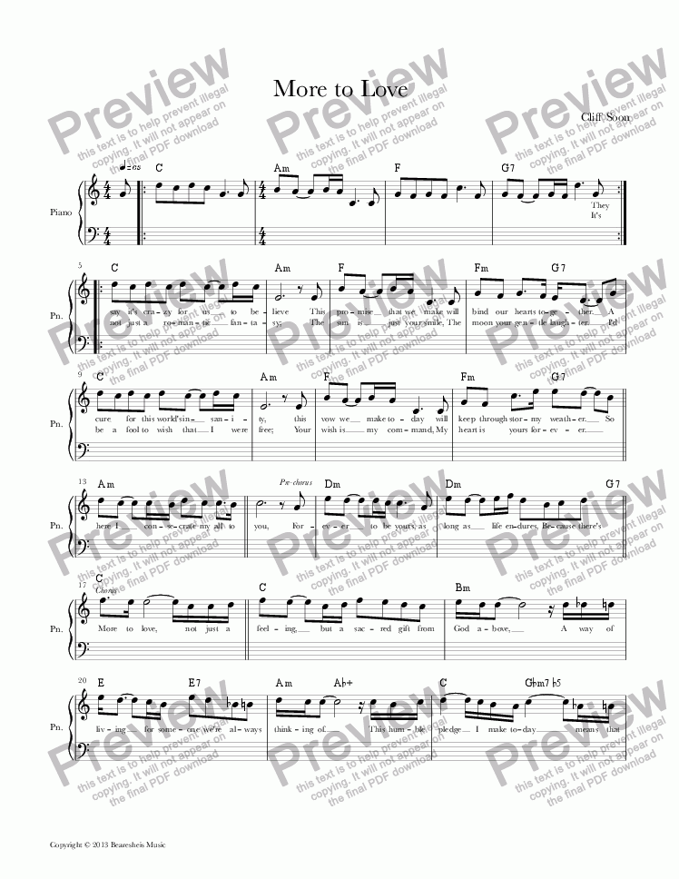 page one of More to Love (Lead Sheet)