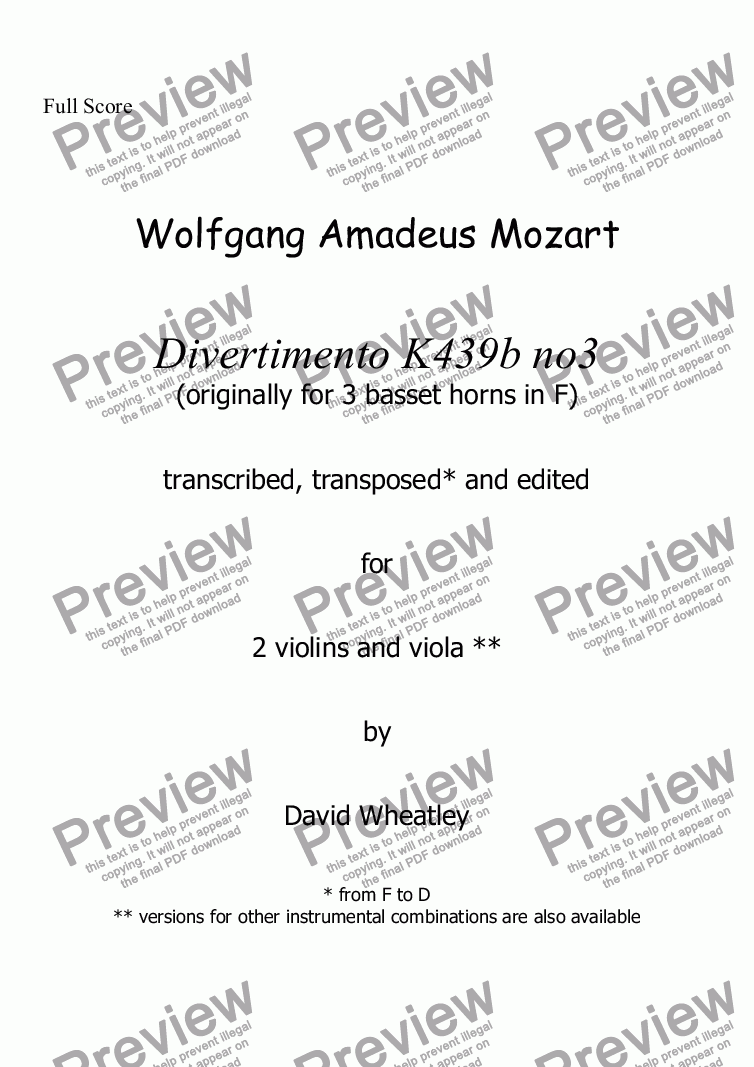 page one of Mozart - Divertimento K439b no 3 for 2 violins and viola transcribed by David Wheatley