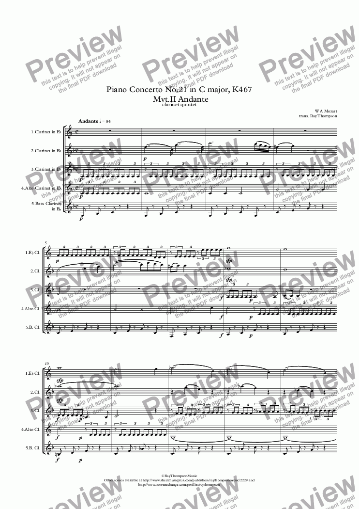 page one of Mozart: Piano Concerto No.21 in C major (Elvira Madigan Concerto) K467  Mvt.II Andante - clarinet quintet/ensemble
