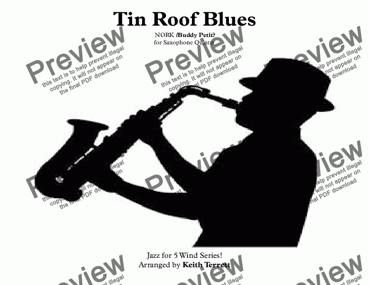 page one of Tin Roof Blues  (Rusty Nail Blues) for Saxophone Quintet ''Jazz for 5 Wind Series''