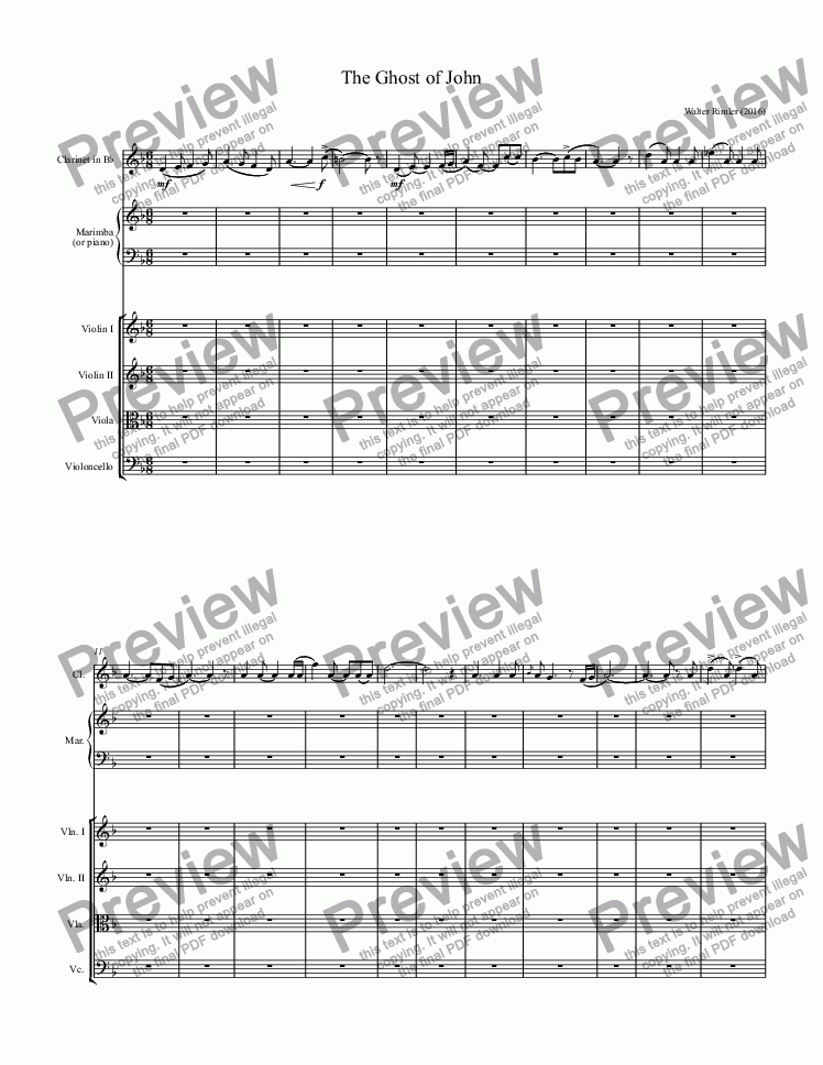 page one of Ghost of John - Full Score