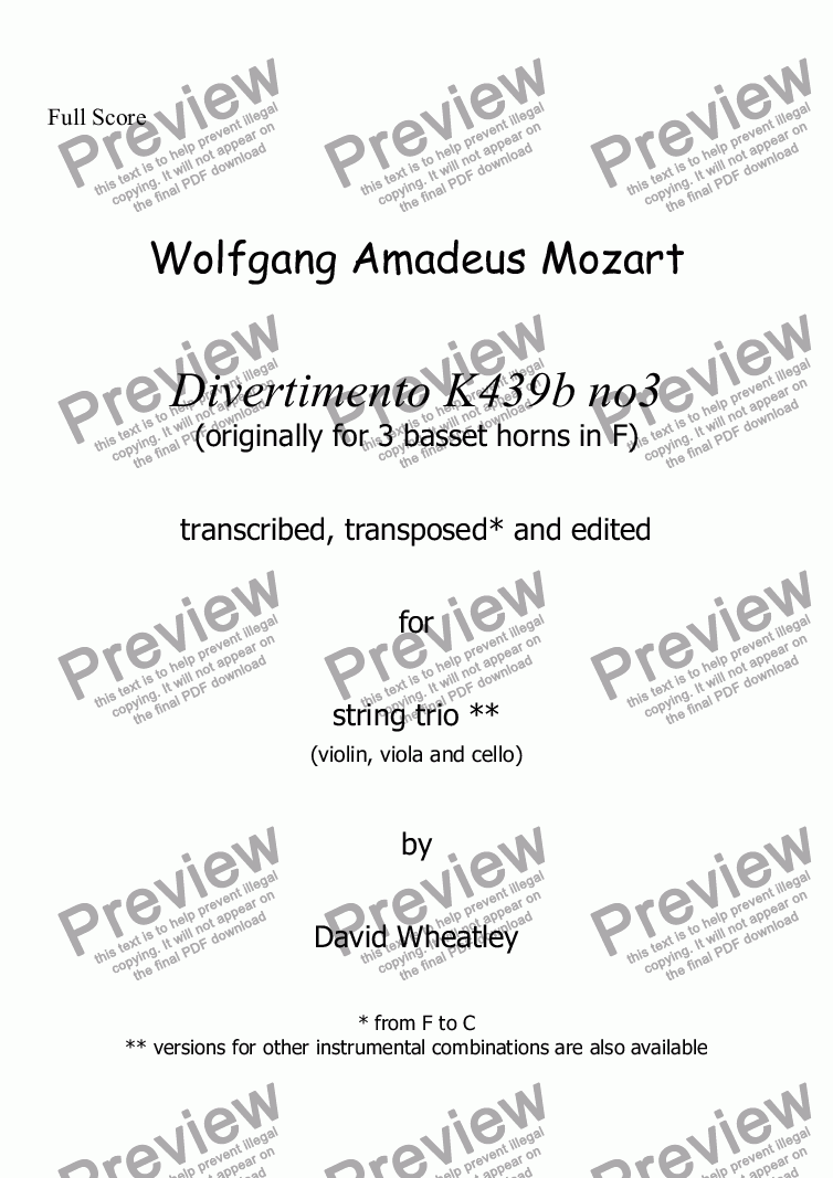 page one of Mozart - Divertimento K439b no 3 for string trio transcribed by David Wheatley