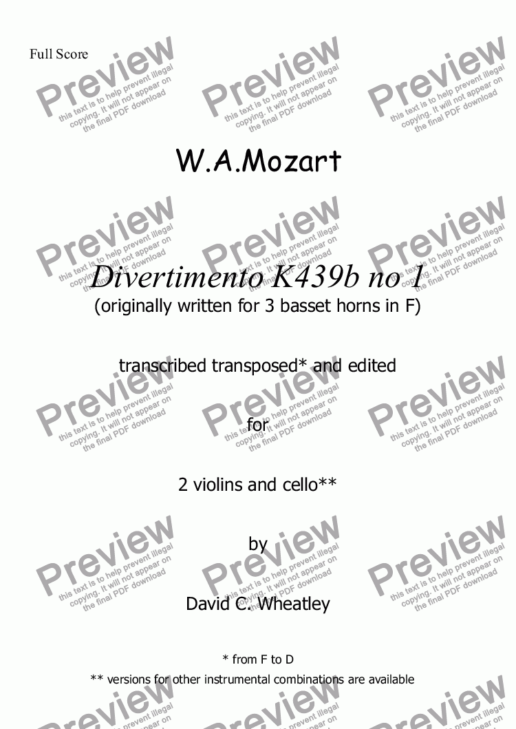 page one of Mozart - Divertimento K439b no 1 for 2 violins and cello transcribed by David Wheatley