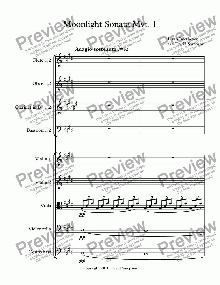 page one of Moonlight Sonata Mvt. 1