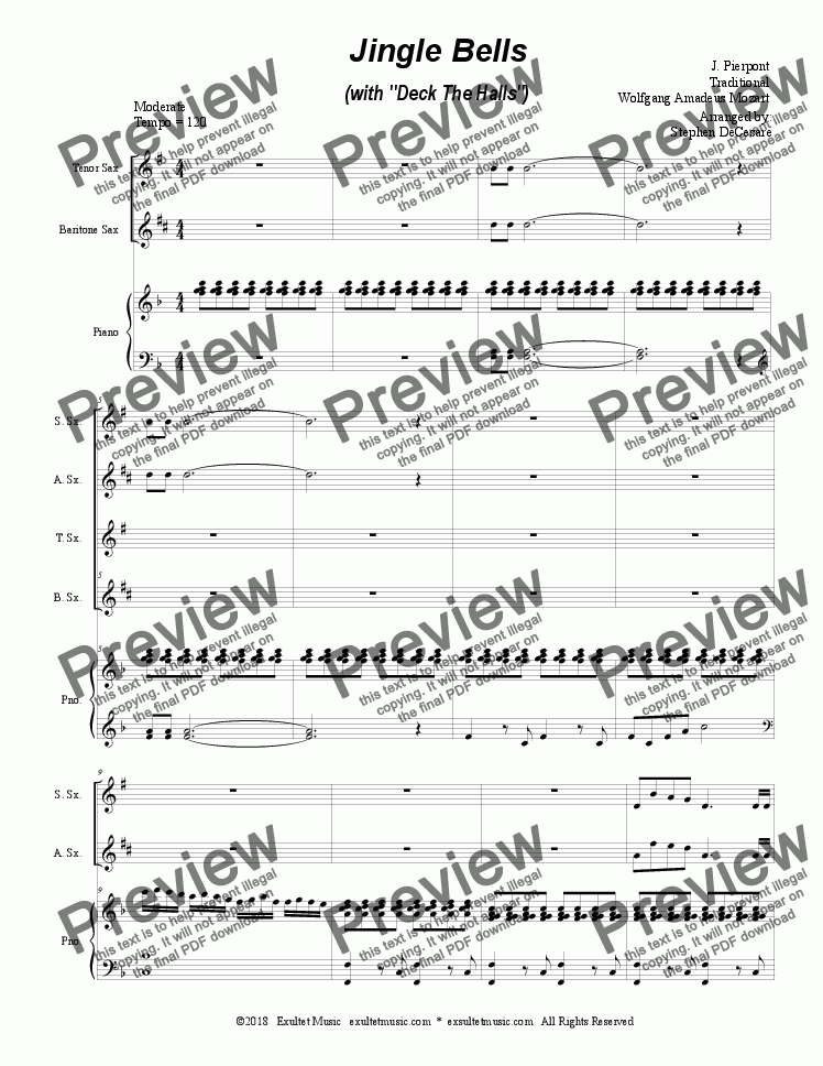 "page one of Jingle Bells (with ""Deck The Halls"") (for Saxophone Quartet and Piano)"