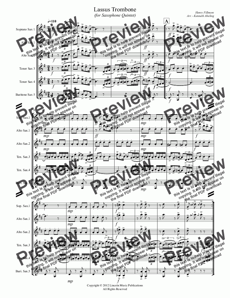 page one of Lassus Trombone (for Saxophone Quintet)