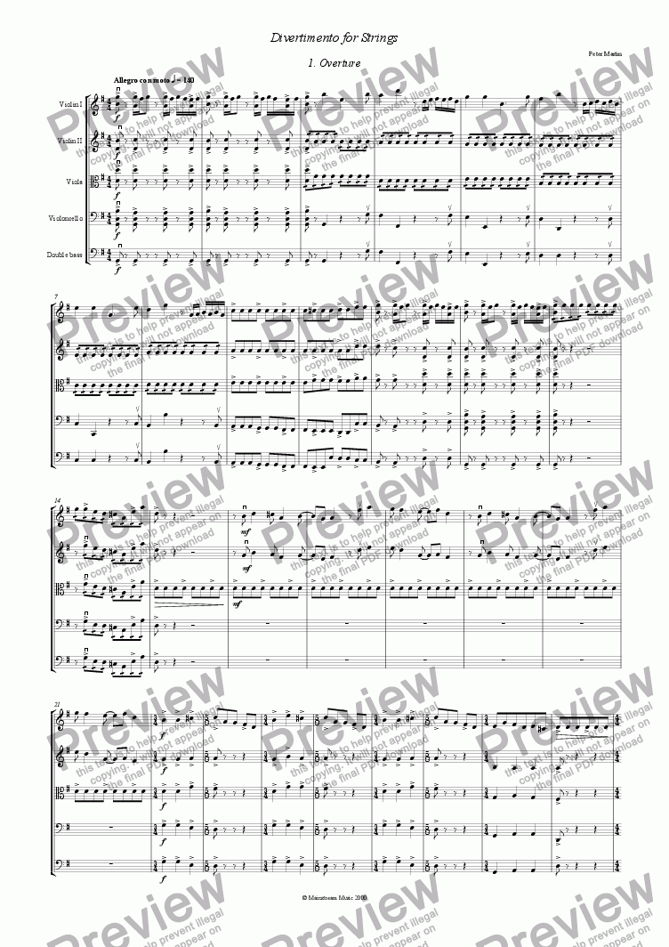 page one of Divertimento for StringsASALTTEXT