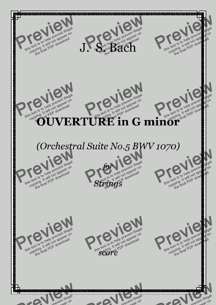 page one of J. S. Bach - OUVERTURE in G minor (Orchestral Suite No.5 BWV 1070) for Strings
