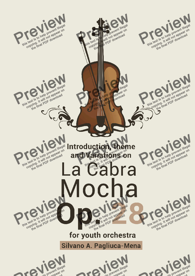 "page one of ""Introduction, Theme and Variations on La Cabra Mocha"" for Youth Orchestra"