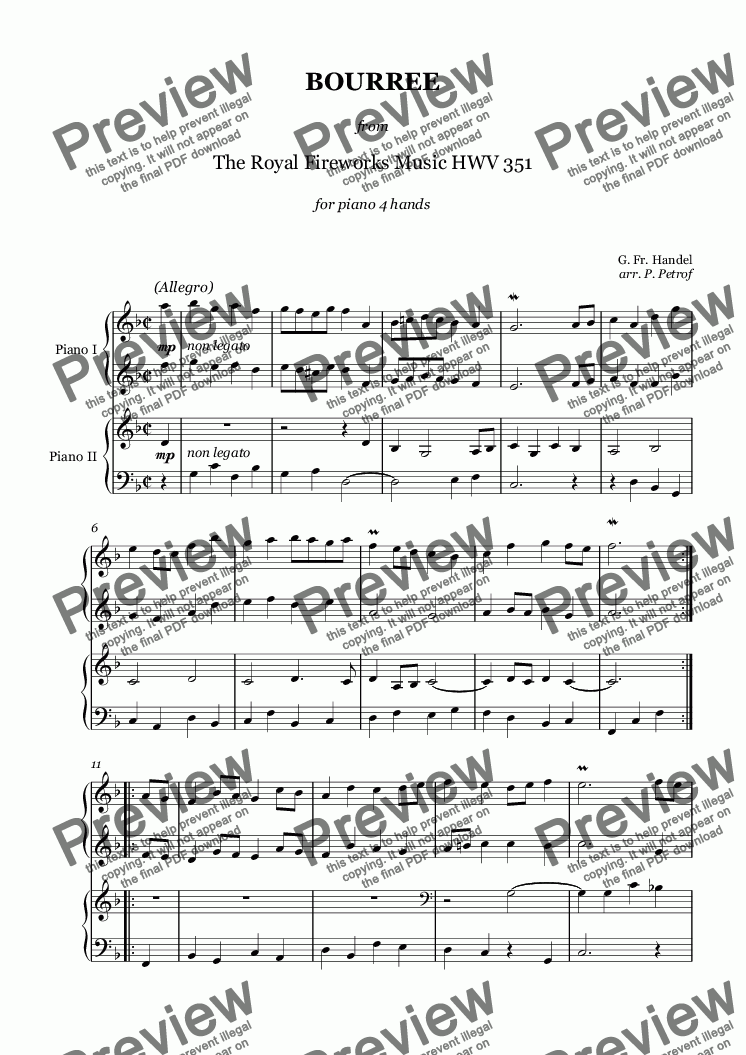 "page one of Handel - BOURREE  from ""The Royal Fireworks Music"" HWV 351 - piano 4 hands"