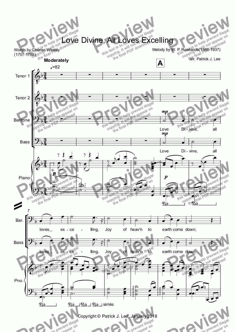 page one of Love Divine, All Loves Excelling (for TTBB chorus & piano)