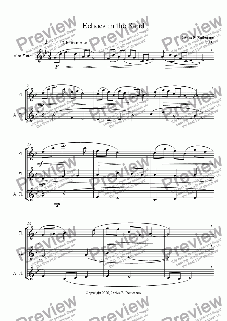 page one of Echoes in the Sand (flutes)