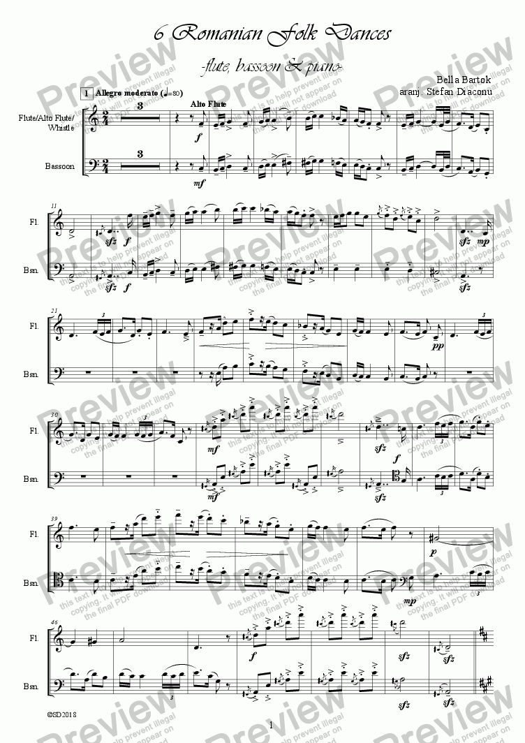 page one of Bella Bartok - romanian folk dances, flute, bassoon and piano