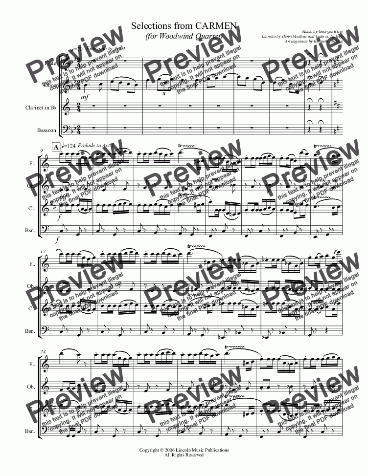 page one of Bizet - Selections from CARMEN (for Woodwind Quartet)