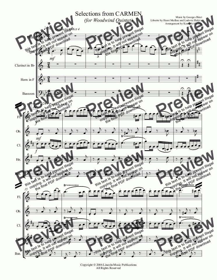 page one of Bizet - Selections from CARMEN (for Woodwind Quintet)