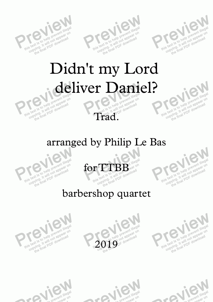 page one of Didn't my Lord deliver Daniel?