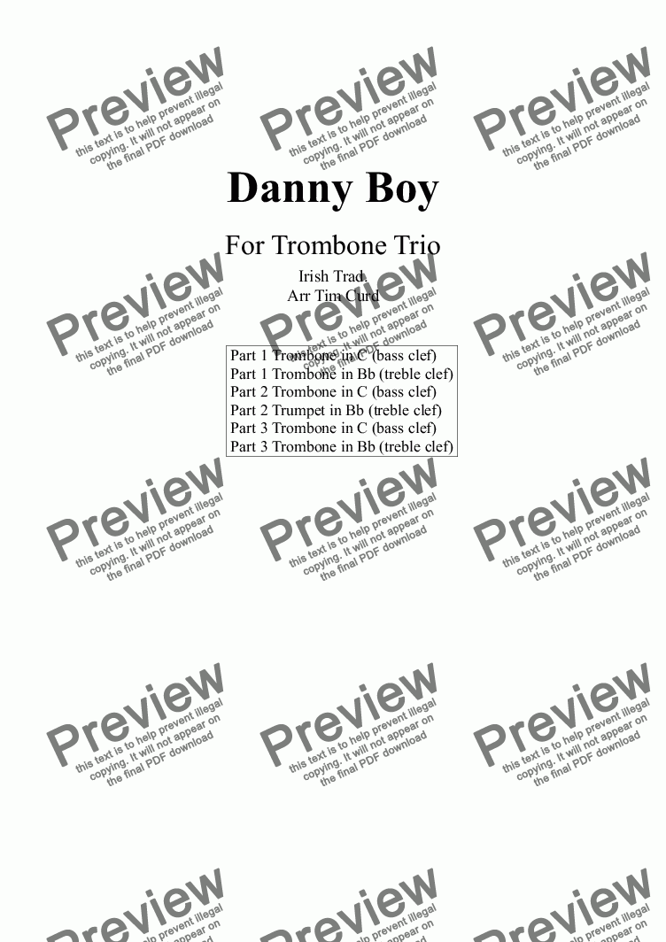 page one of Danny Boy. Trombone Trio